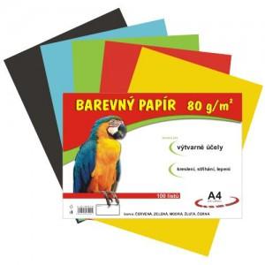 Barevný papír 80g/m2, mix 5x20